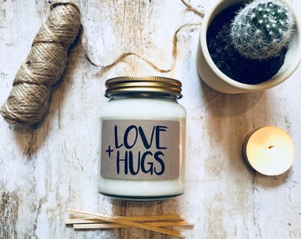 Love + Hugs Scented Natural Soy Candle