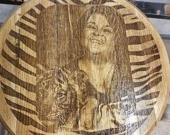 Portrait Engraved Bourbon Barrel Head