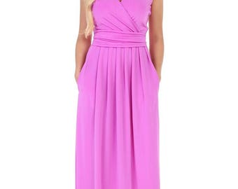 Maxi Dress Wrap Neck Sleeveless Bridesmaid Dress With Pockets Sash Plain Violet
