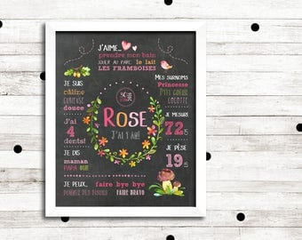 """First birthday personalized """"Romantic flowers"""" _FICHIER numerique_fete baby pink flowers, chalkboard slate Board poster"""