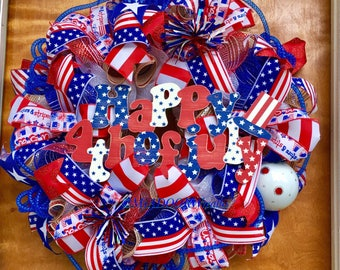 Patriotic Deco Mesh Wreath, Summer Patriotic Front Door Wreath, Miltary Wreath, Happy Fourth of July Wreath, Patriotic Decor, Red White Blue