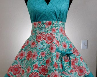 Teal and Coral Halter Apron