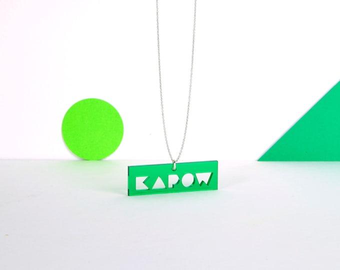 Green transparent mini KAPOW typographic acrylic statement necklace