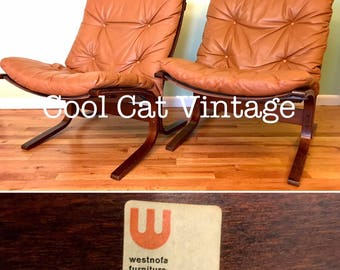 Pair (2) of Rosewood Lounge Chairs by Westnofa, Circa 1960's (*please see notes on shipping)