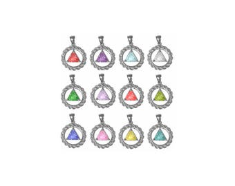 Alcoholics Anonymous Style #772, Sterling Silver,Medium Size,Rope Style Circle,Available in 12 Different 8mm Triangle Colored CZ Birthstones