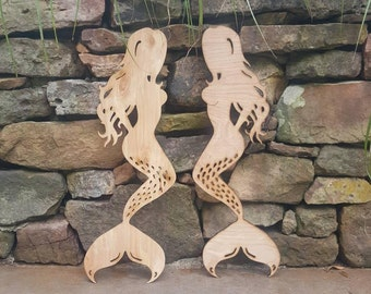 Wooden Mermaid Wall Art wooden mermaid | etsy