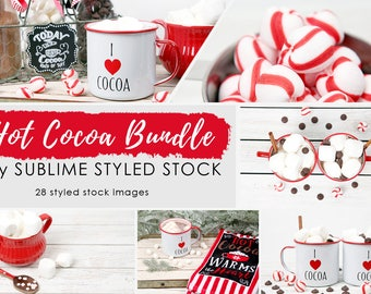 Bundle Stock Photos /  Styled Stock Photography / Wood Background / Hot Cocoa /  Hot Chocolate / Stock Images / Winter / Social Media Images
