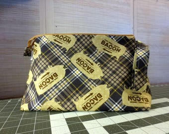 Bacon - Medium, Knitting Project Bag, Sock Project Bag, Crochet Bag, Cross Stitch, Zippered Bag, Knitting Organizer
