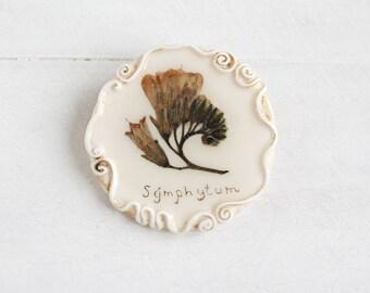 Symphytum Brooch, Real Flower Brooch, Romantic Brooch, Rustic Jewelry, Gentle Brooch, Real Flower Jewelry, Vintage Brooch, Flower Brooch