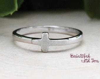 Cross Ring, Christian Ring, Christian Jewelry, Faith Ring, Silver Cross Ring, Cross Ring for Her, Cross Ring Womens