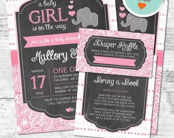 Elephant Baby Shower Invitation, Elephant Invitation, Pink, Gray, Dots, Bubbles | DIY