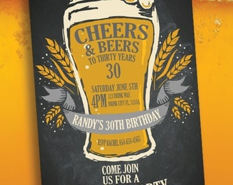 Birthday Invitation; Cheers & Beers To Thirty Years, 30Th Birthday Invite, Beer Theme Invite
