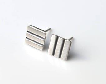 Geometric Earrings - Square Stud Earrings - Square Earrings - Flat Earrings - Minimal Earrings - Simple Stud Earrings - Silver Stud Earrings