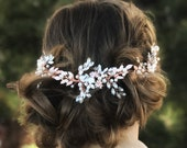 Rose Gold Bridal Hair Vine, Bridal Hair Accessory, Bridal Hair Wreath, Bridal Hair Crown, Gold Bridal Hair Accessory