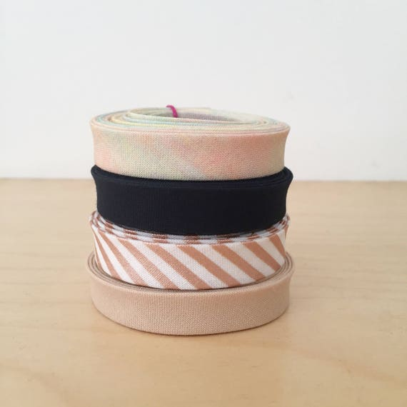 """Bias Tape Remnant Pack- 4 different cotton designer fabric 1/2"""" double-fold bindings"""