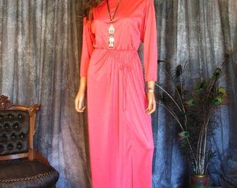 Vintage 1970s Gown / 70s Coral Maxi Dress /  Goddess Dress / Front Slit Dress / Jerry Silverman by Saulino for Bergdorf Goodman