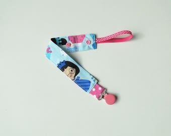 """Pacifier clip """"Blue princesses"""" fabric with metal clip and pressure"""