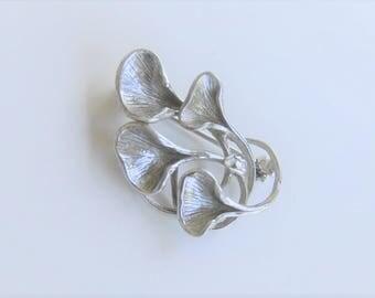 Hannu Ikonen Style Sterling Silver Reindeer Moss Brooch 1970s Scandinavian Modernist Jewelry