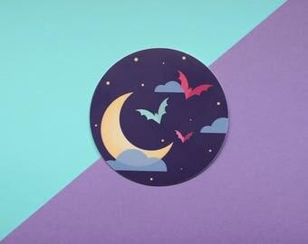 """Witchy Moon Bat Sticker - Round Vinyl 3"""" - Kawaii - Pastel Goth - FairyFlux"""