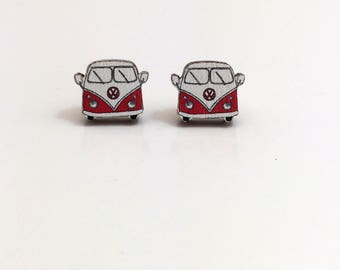 Wooden Camper Van Earrings