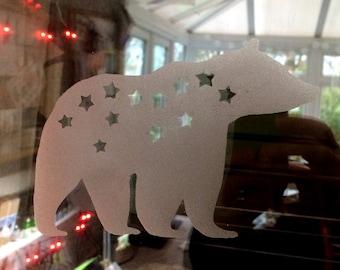 Starry Bear Reusable Window Cling Decoration
