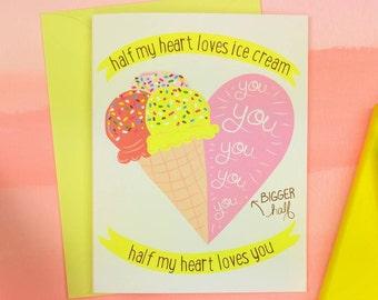 Half My Heart Loves Ice Cream | Illustrated Greeting Card | Folk and Fauna Co.