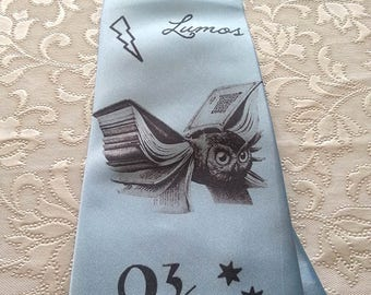 Harry Potter tie - Funny Clothing- Party Clothes  -Light Blue 4 inches widest point.Handmade.Wedding Tie