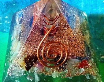 "3.5"" ORGONE Chakra Crystal Energy GENERATOR Pyramid, Reiki,Orgonite, with Copper Coil, Sacred Geometry"