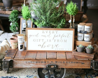 1'X2' Every Gift Is From Above Framed Wood Sign