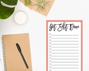 Daily To Do List / Memo Pad / Daily Planner Sheet / To Do List Notepad / Productivity Planner / Desk Accessories / Get Shit Done