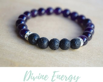 Amethyst Bracelet / self care, anxiety relief gift, stress relief gifts, oil diffuser bracelets, diffuser oil jewelry, gifts for meditators