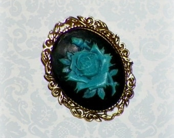 Rose Pin Brooch Cameo Victorian Gothic Black Blue  Vintage Style Steampunk Antique  Gold Style