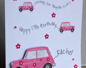Lovely Personalised Handmade 3D Pink Car with flowers Birthday Card. Any age. Daughter Niece Granddaughter Sister Friend