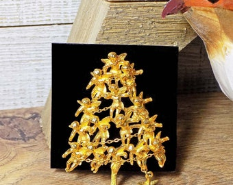 Vintage Cadoro Cherub Christmas Tree Brooch Pin with Garland & Dangling Star Gold Tone Signed Collectible