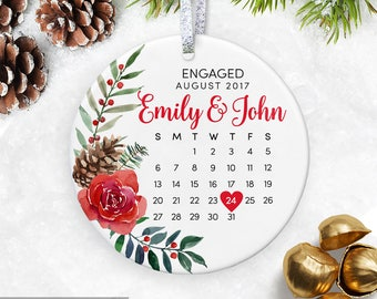 Engagement Ornament, Just Engaged Gift for Bride to be Ceramic Ornament, Customized Engaged Ornament, Engagement Gifts