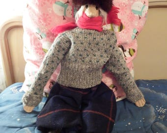 Vintage Christmas or Winter Themed Display or Toy Ant Eater or Bird with Long Nose Paper Mache Cloth Body Wool Sweater and Plaid Knickers