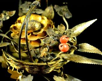 Antique complicated coral birabira kanzashi - Japanese Antique complicated birabira kanzashi - Antique coral kanzashi vintage bira kanzashi
