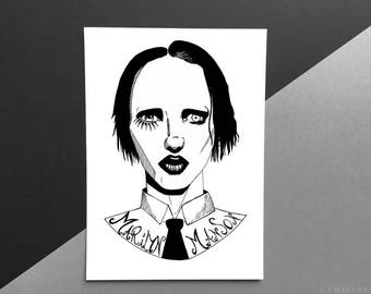 Marilyn Manson, tumblr grunge aesthetic, antichrist, halloween gift, horror art fan, home decor, gothic art print, dark art, Brian Warner