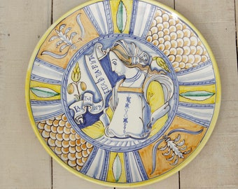 Reproduction antique dish, hand painted ceramic plate, majolica, ceramic pottery, home decoration, wall decoration, craft
