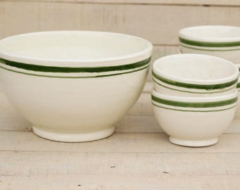Set of salad bowl and 5 ceramics, bowls, Salad bowls, soup bowl, ceramic and pottery, green and white, kitchen, home decor