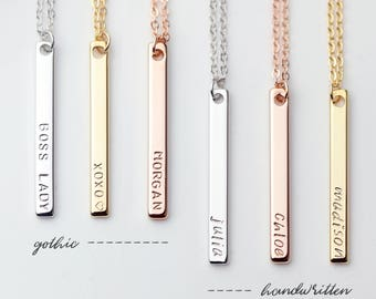 Long pendant necklace, Personalized Vertical Bar Necklace, Custom Name, Monogram, Best Friend Necklace - 6N