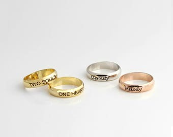 personalized ring Custom Engraved Ring Statement Ring bridesmaid gift Mom Ring Gift RR2-D