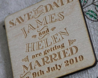 Personalised Engraved Wooden Square SAVE THE DATE Fridge Magnets *New*
