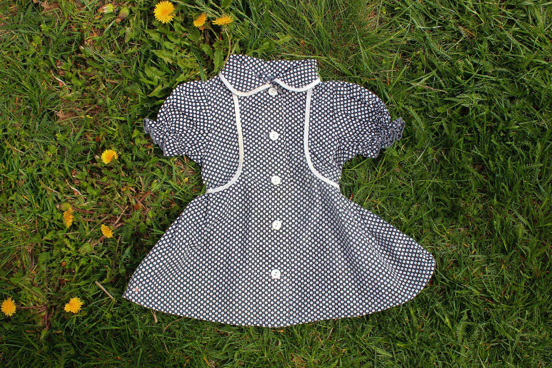Dotted Soviet Tea Dress USSR Vintage Black & White Polka Dot