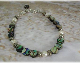 Abalone and Five Pearl Bracelet, Summer Bracelet, Beach Jewelry