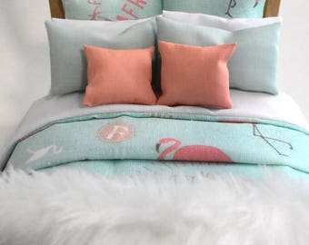 Bed Linen Modern Miniature 1:12 Dolls House Bedroom Styling Pink & Pastel Aqua Flamingo 9 Piece Bedding Set Comforter Pillows
