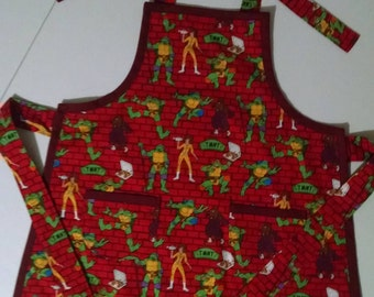 Boys Apron Boys Ninja Turtle Apron with Pockets