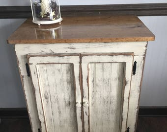 Primitive Wood Storage Cabinet Vanity Farmhouse Cabinet