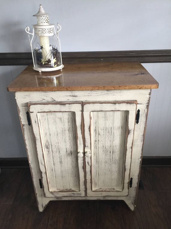 Primitive wood storage cabinet vanity farmhouse