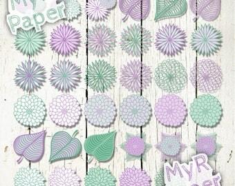 """36 PNG Floral Clip art: """"Lavender & Mint Dahlias"""" dahlia flower Clip Arts - for scrapbooking, cards, invitations - Transparent background"""